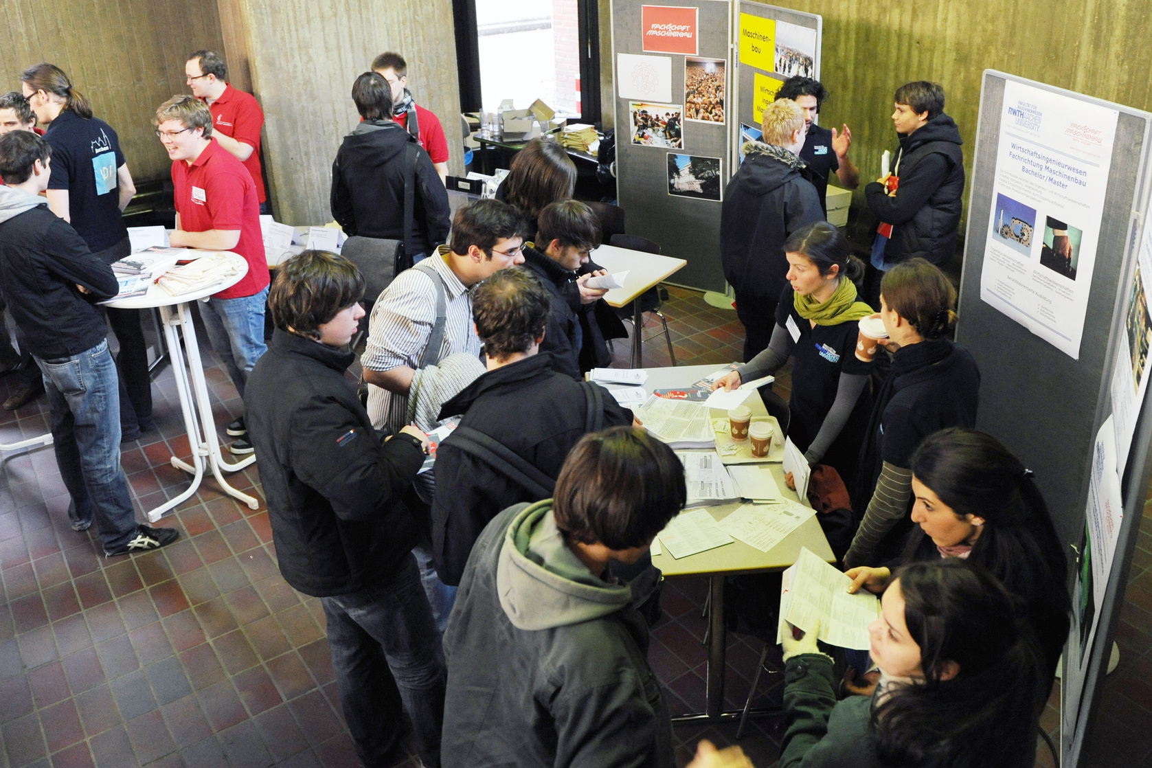 Students in front of info point