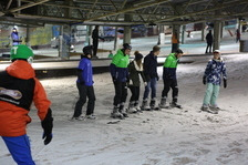 Skiers in the ski hall