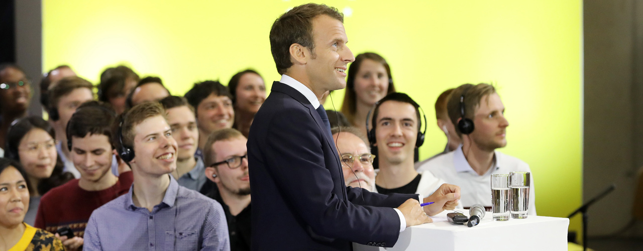 Emmanuel Macron with students